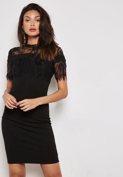Lace Yoke Ruffle Detail Dress