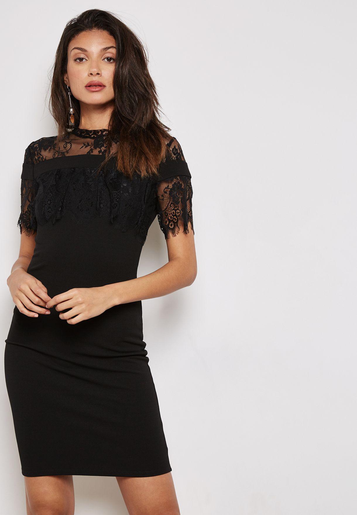a7500ab3ca Shop Ella black Lace Yoke Ruffle Detail Midi Dress QED0276 for Women ...