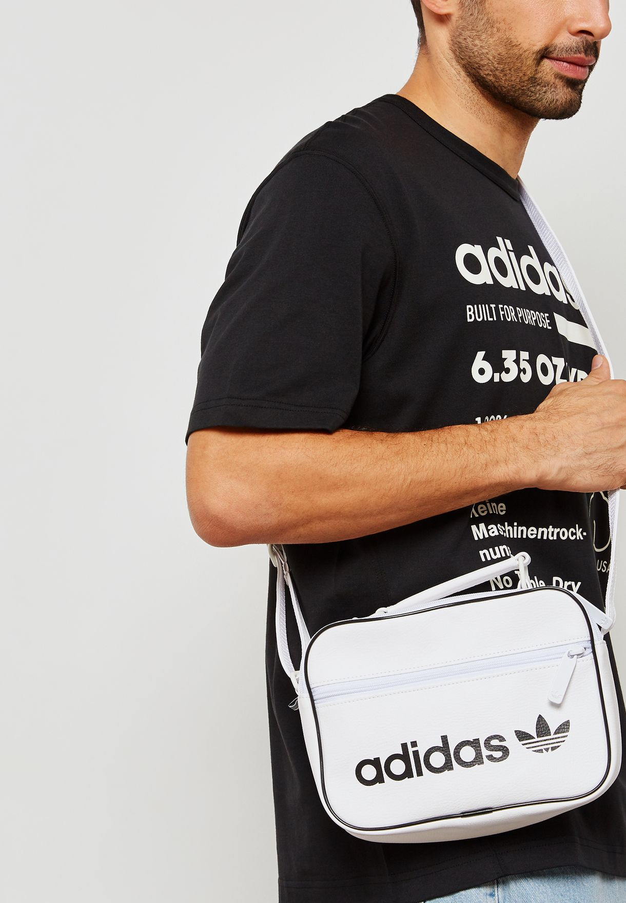 ce25a457d552 Shop adidas Originals white Mini Airliner Vintage Messenger DH1005 ...