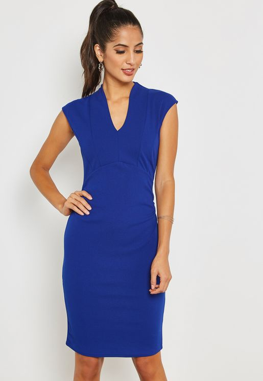 Ruched Short Sleeve Bodycon Dress