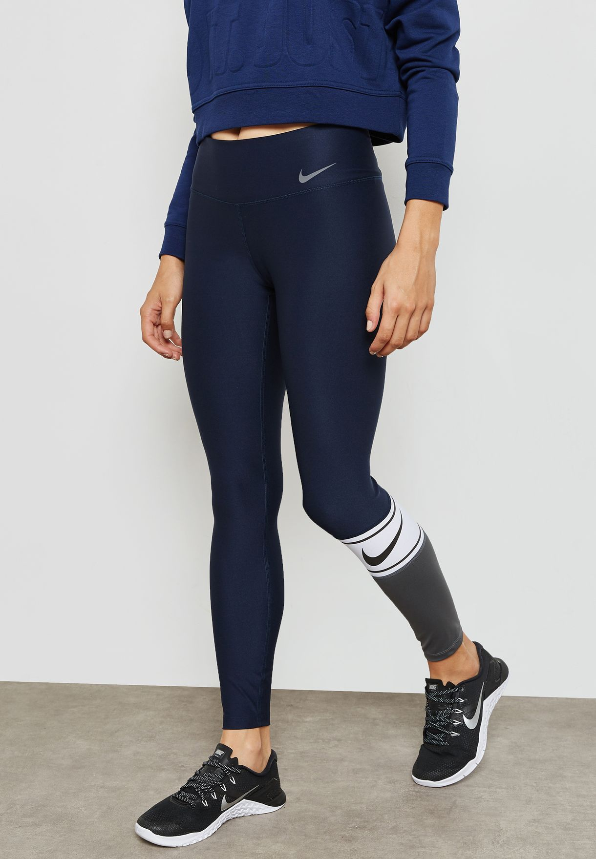 46b66166247d7 Shop Nike navy Power Colour Block Tights 905137-451 for Women in UAE ...