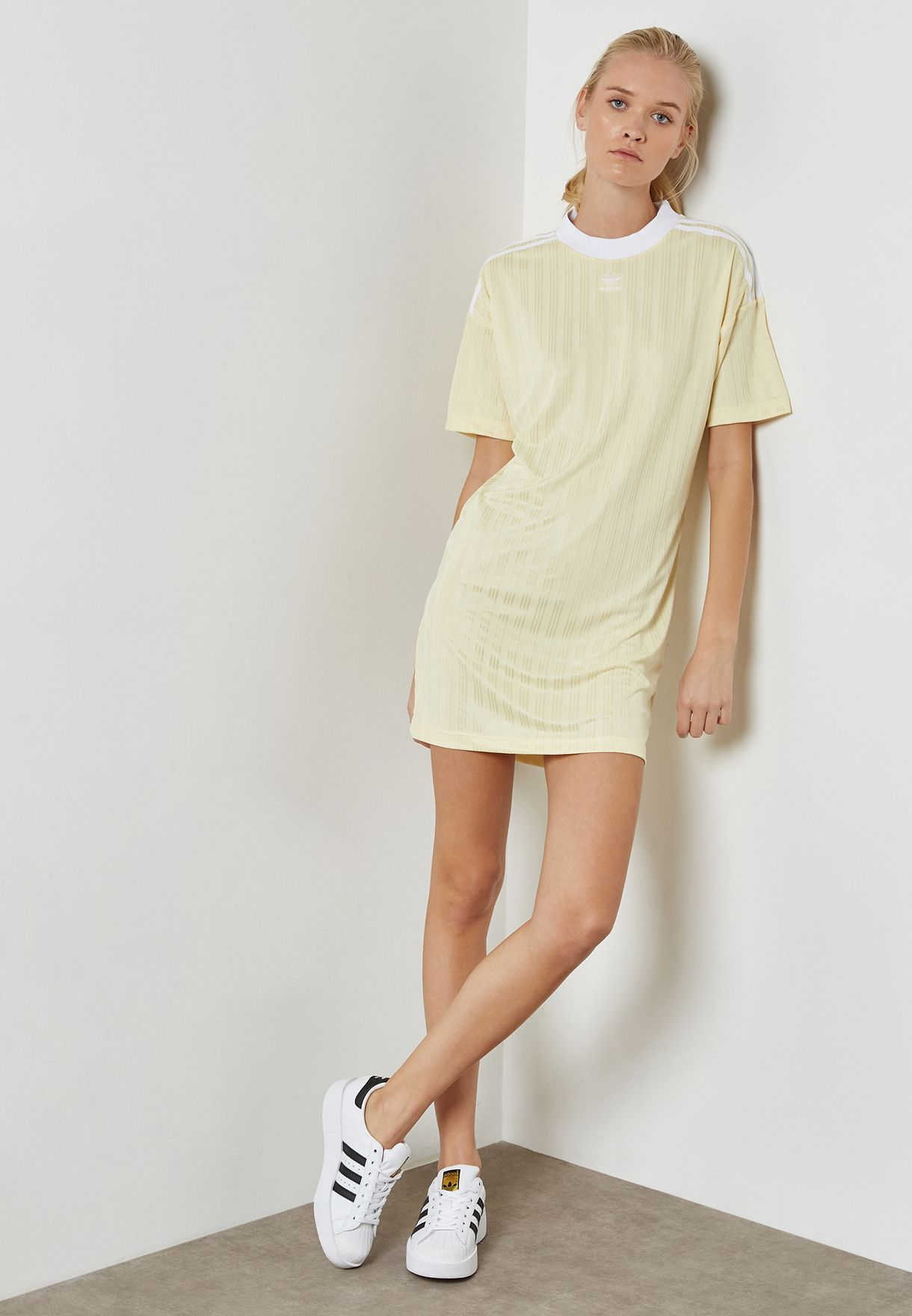 9e0939d8b2f Shop adidas Originals yellow Trefoil Dress CE5588 for Women in UAE ...