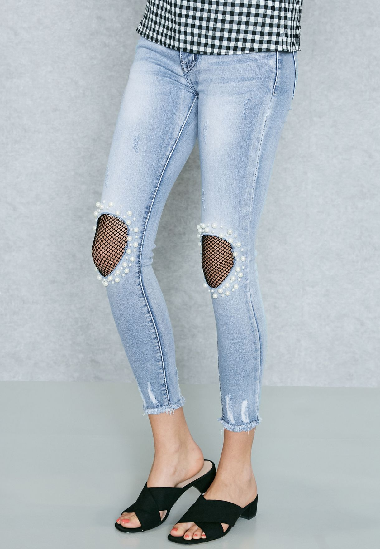 523bc317c77bb6 Shop Ruby Q blue Pearl Knee Ripped Skinny Jeans 5051 for Women in ...