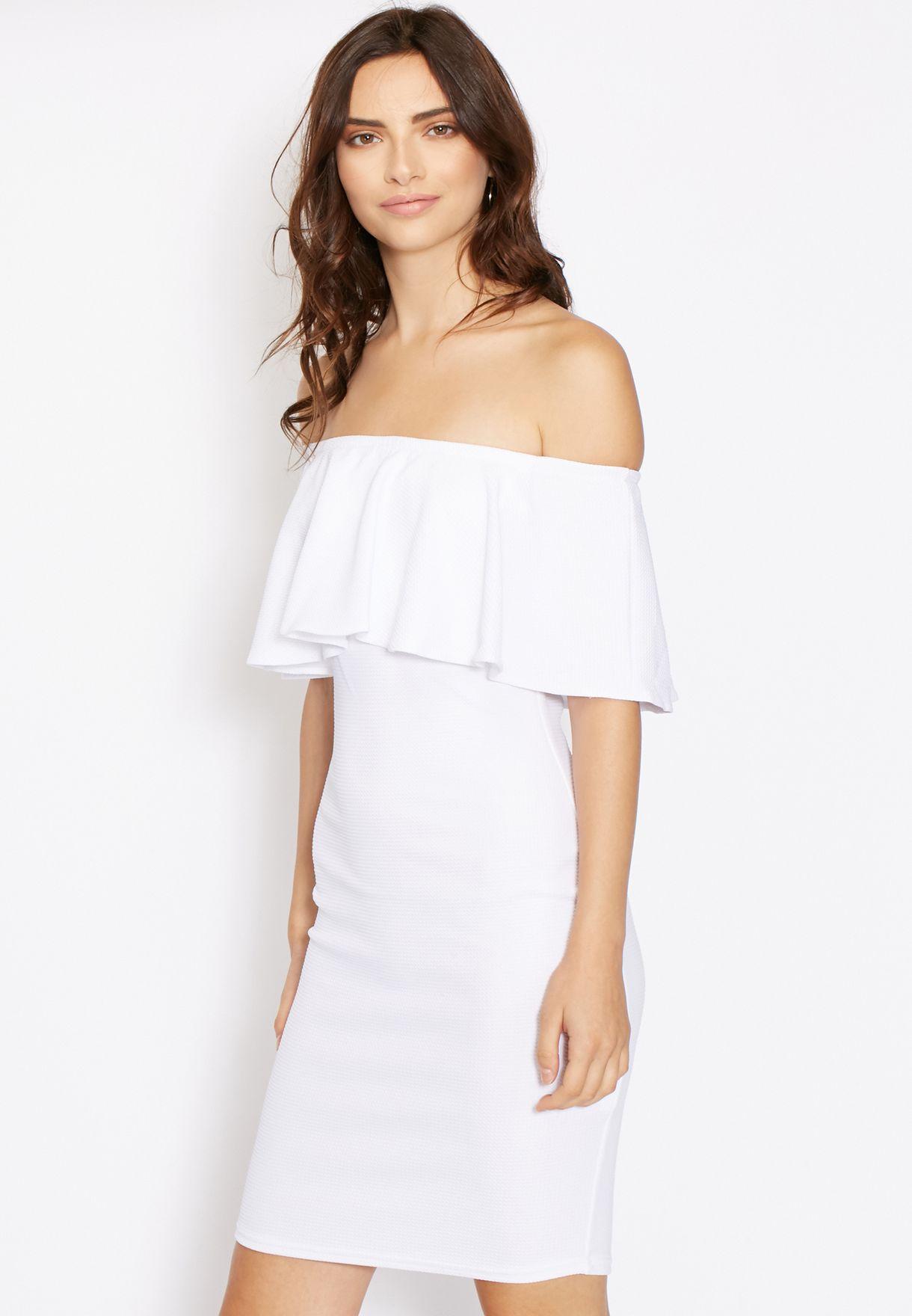4e646799537c Cold Shoulder Frill Bodycon Dress