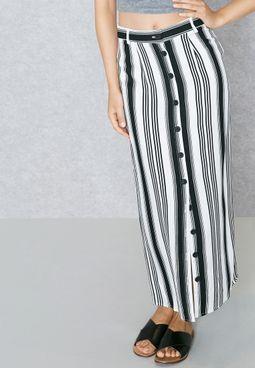 Button Down Striped Skirt