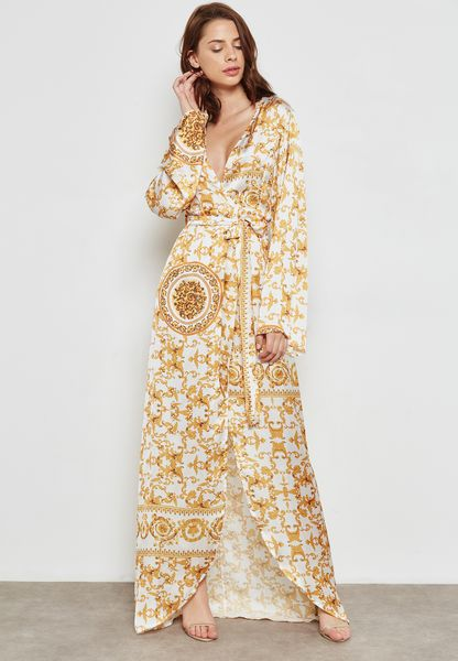 Baroque Wrap Front Tie Maxi Dress