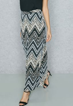 Animal Print Chevron Maxi Skirt