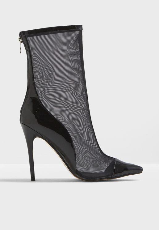5ba9072c8b08 Spike Mesh Stiletto Heel Ankle Boot. Public Desire. Spike Mesh ...