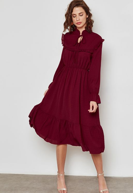 Tie Neck Ruffle Trim Dress