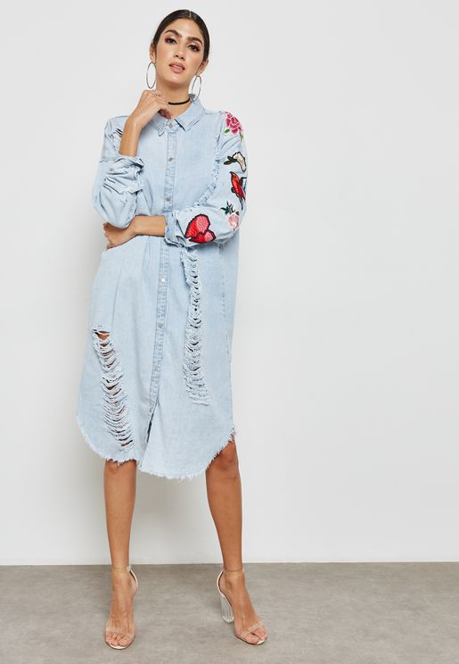bf412e80b8 Ripped Denim Dress. Missguided
