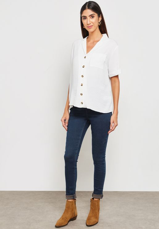 Over Bump Skinny Jeans