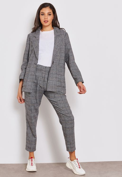 Ankle Grazer Tapered Checked Pants