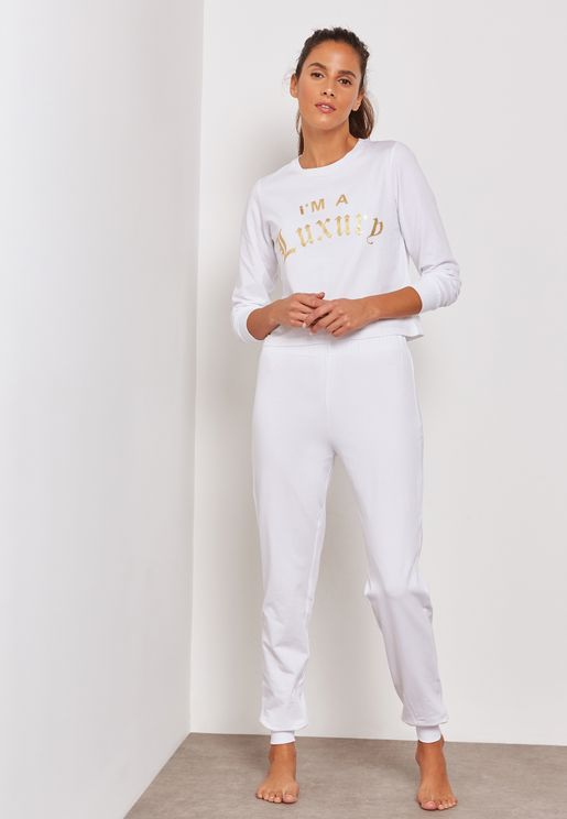 Metallic Slogan Pyjama Set