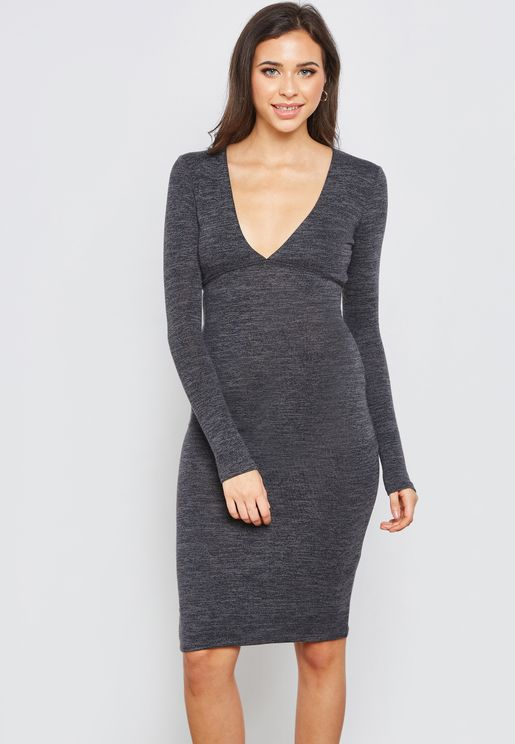 Plunging Long Sleeve Dress