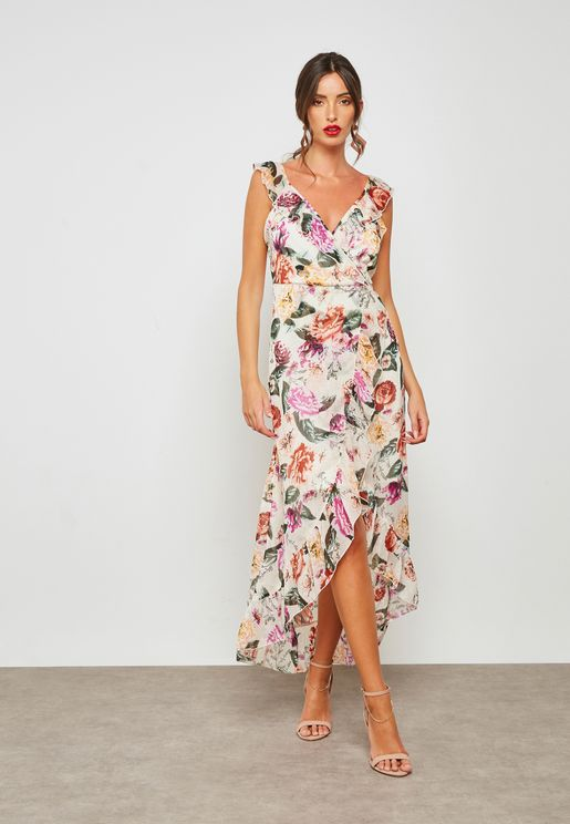 Floral Print Ruffle Wrap Maxi Dress