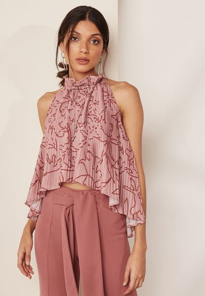 High Neck Pleated Printed Top