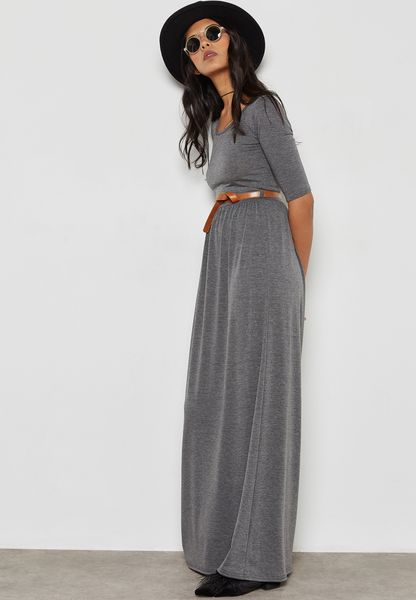 Tie Back Belted Maxi Dress