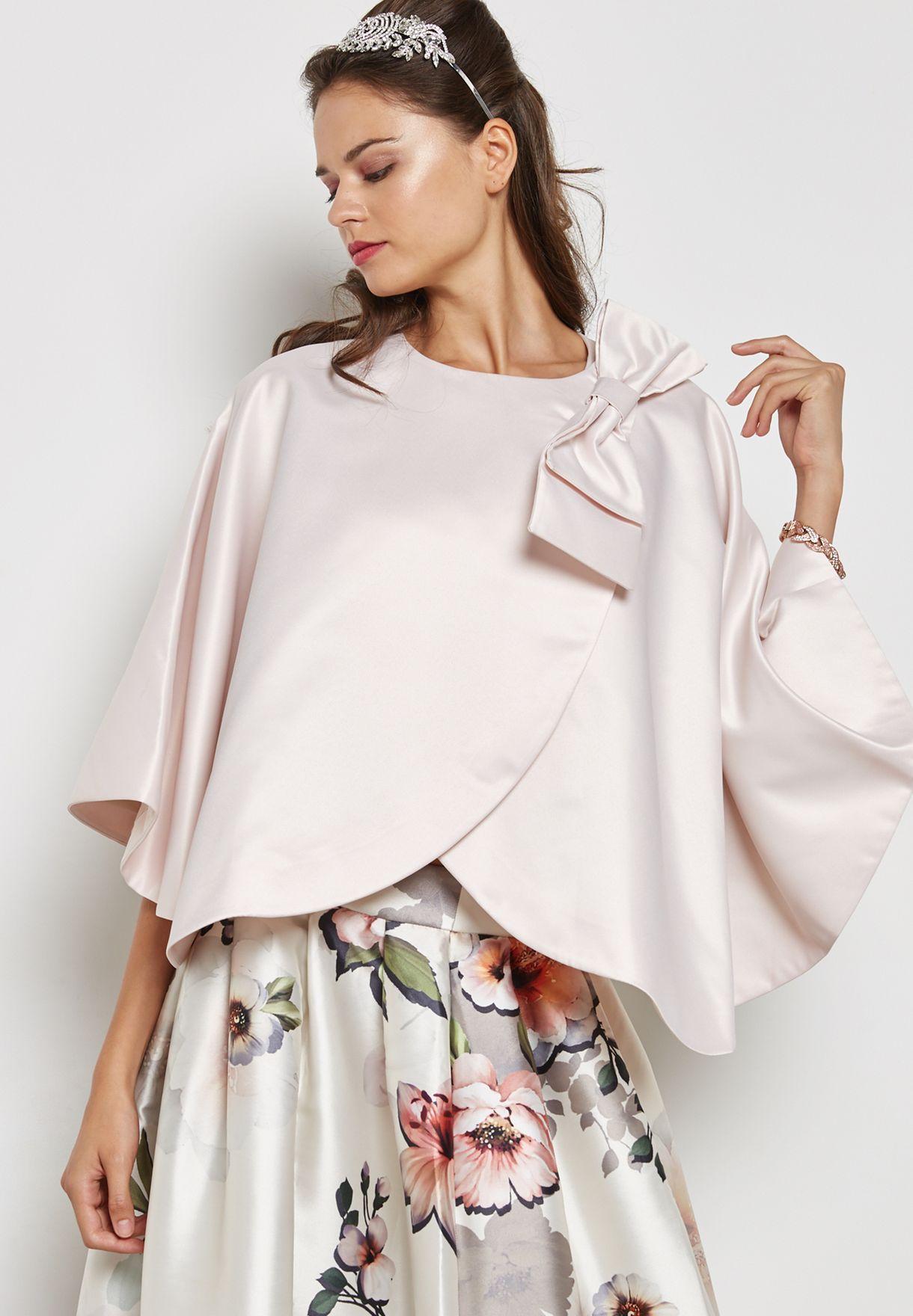 Shop Anotah Pink Bow Detail Cape Jacket 17Fjac L54544 For Women