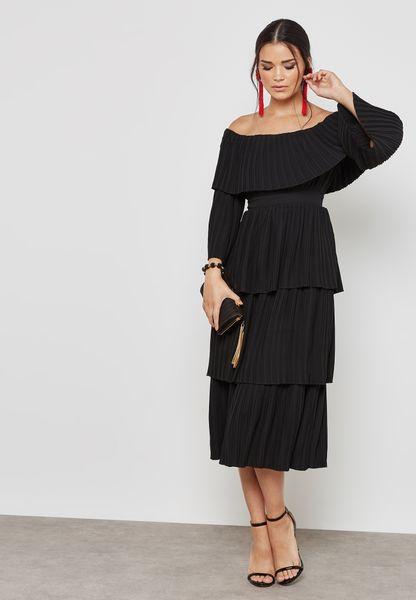 Bardot Pleated Ruffle Dress