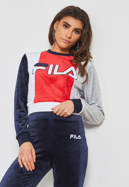Antonietta Velour Colour Block Sweatshirt