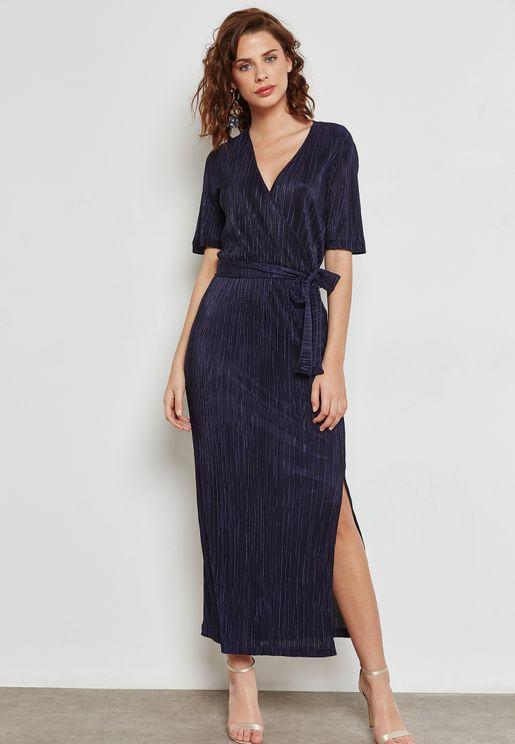 Plisse Wrap Front Maxi Dress