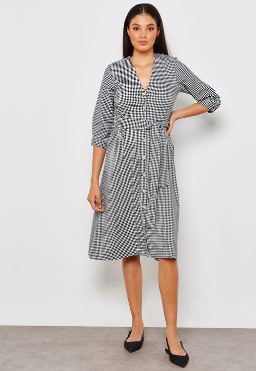 Gingham Button Detail Dress