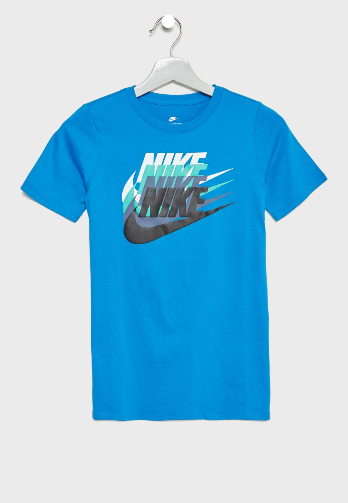 2b364f1a5 Shop Nike blue Youth Sunset Futura T-Shirt 913186-465 for Kids in ...
