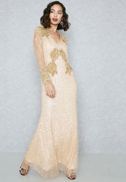 Sequin Plunge Maxi Dress