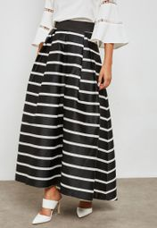 629ee9124 Shop bYSI black Stripes Pleated Flare Skirt 13978SK for Women in UAE -  BY649AT69JDU