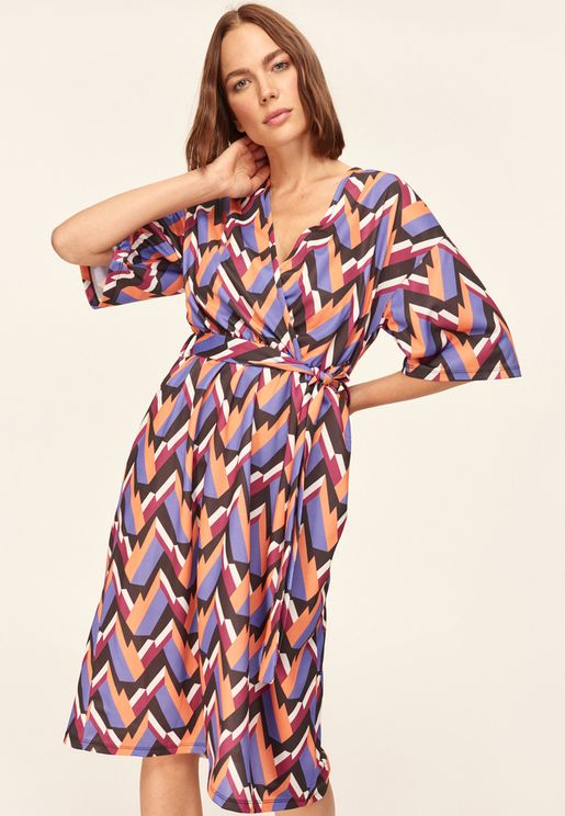 Printed Self Tie Dress