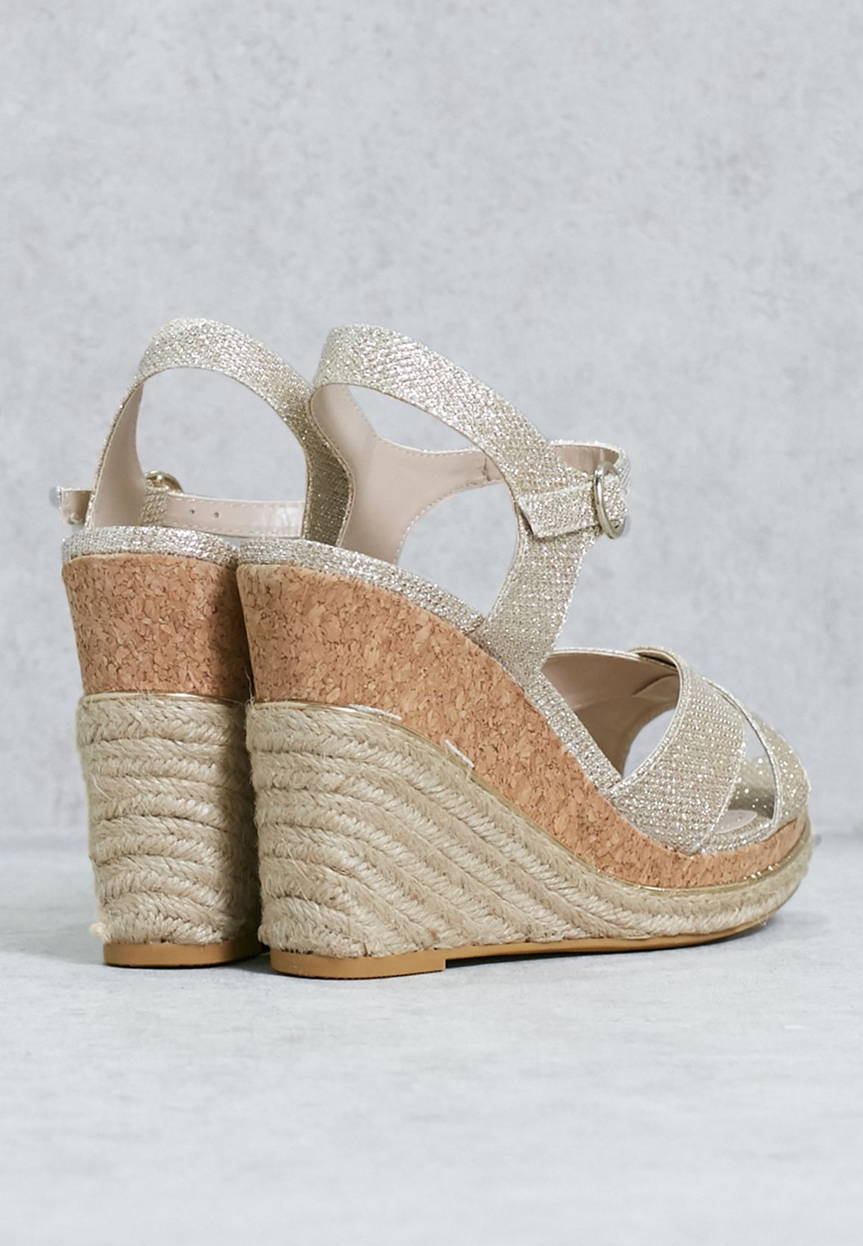 Gold Lurex Wedge Sandal