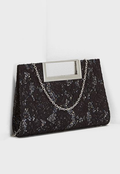 Lace Gliitter Metal Handle Clutch