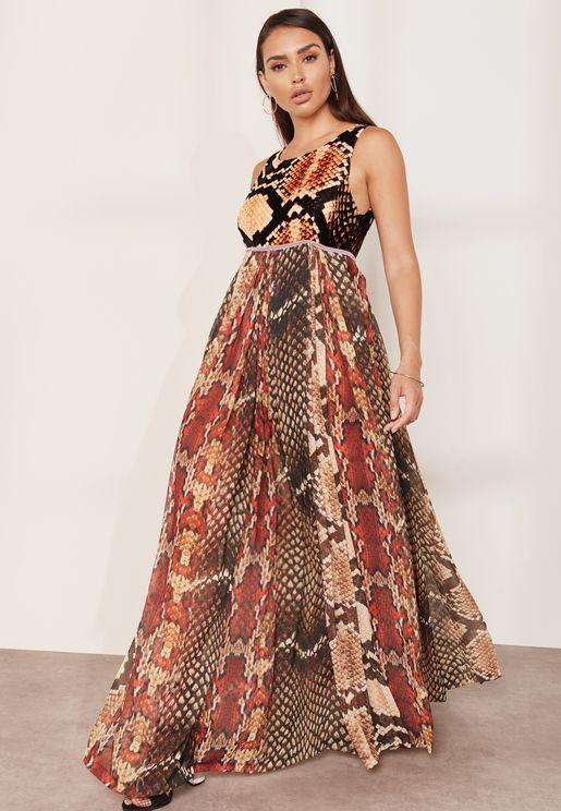 Snake Retptile Print Maxi Dress