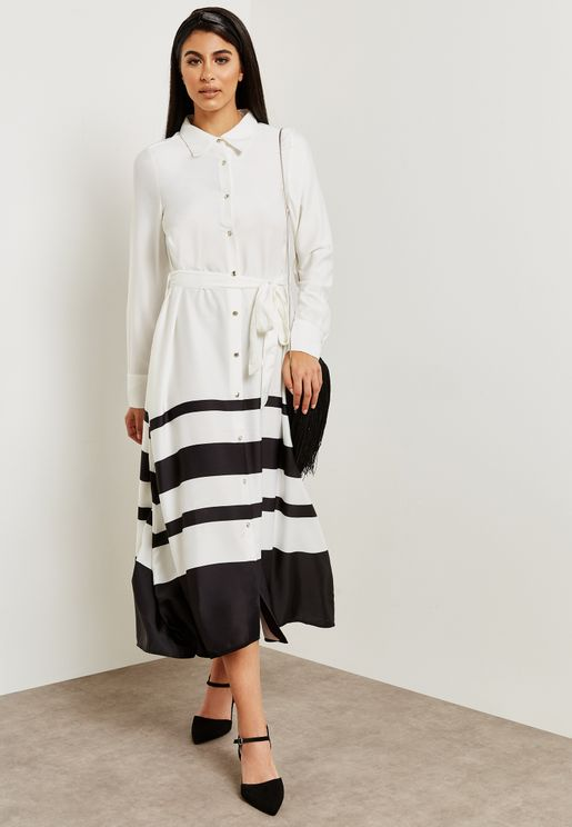 Button Through Striped Hem Dress