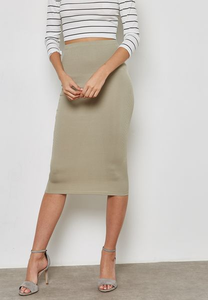 Ribbed Longline Skirt