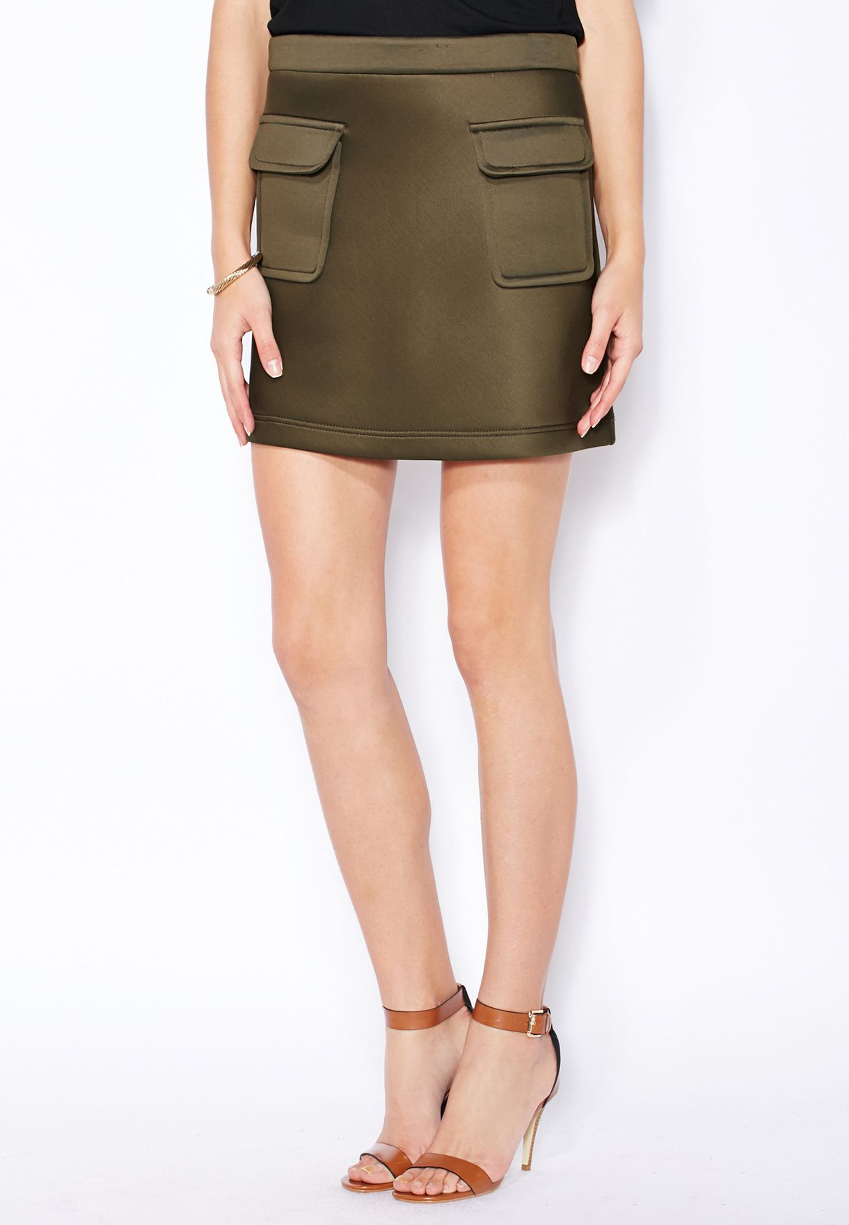 5de2de766c Shop Dorothy Perkins green Scuba Mini Skirt 66813884 for Women in ...