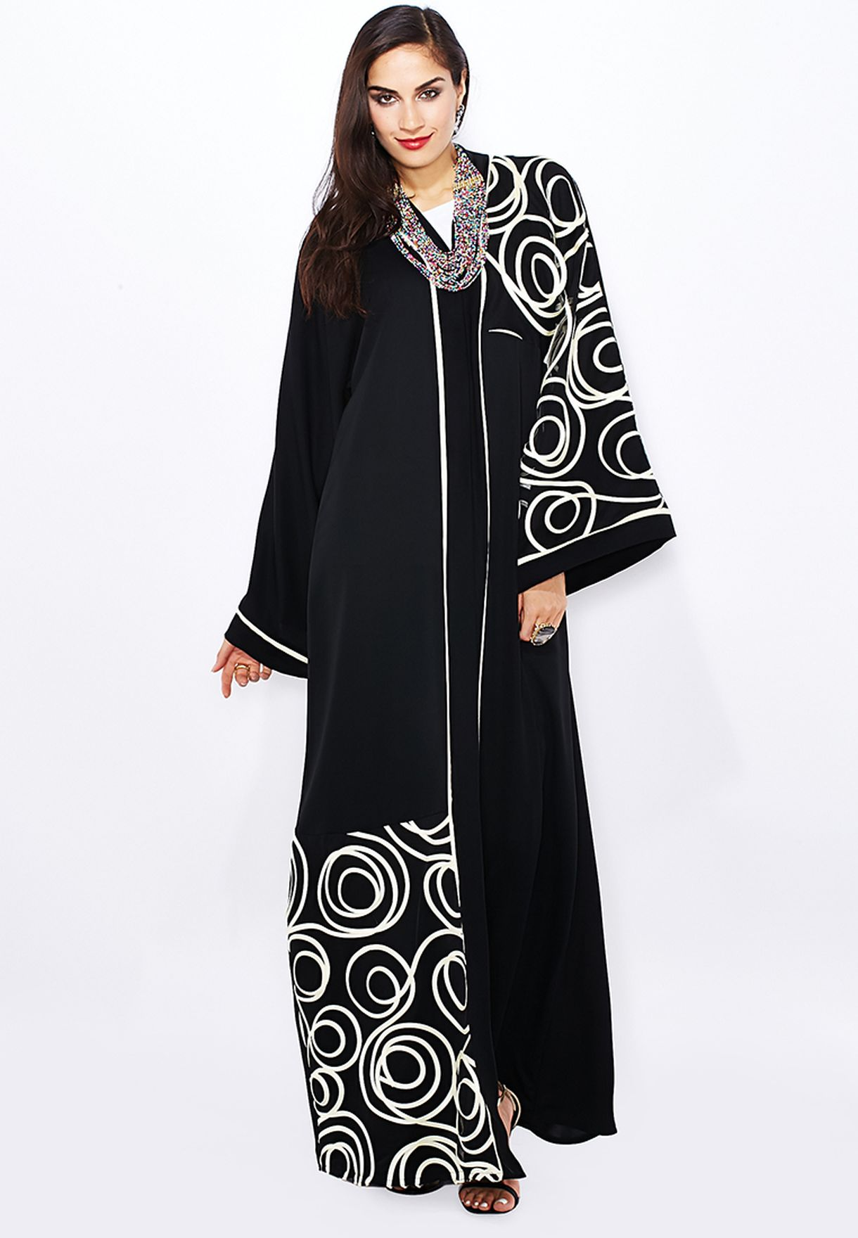 ccc1357ab3a9f Shop Hayas Closet black Rose Cutwork Abaya for Women in UAE ...