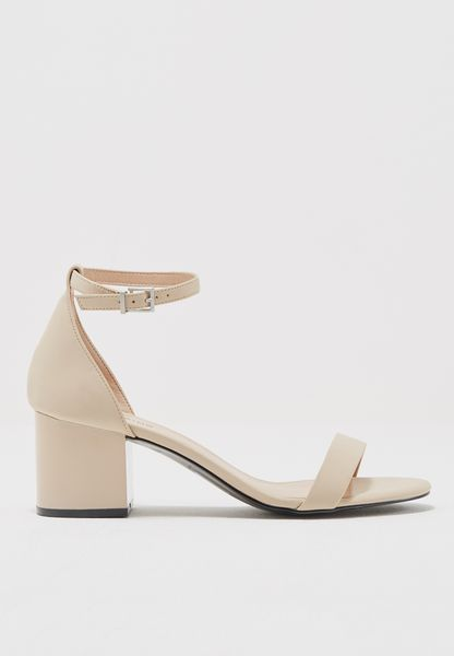Ladies Mid Block Heel Basic Sandal With Abs Finish