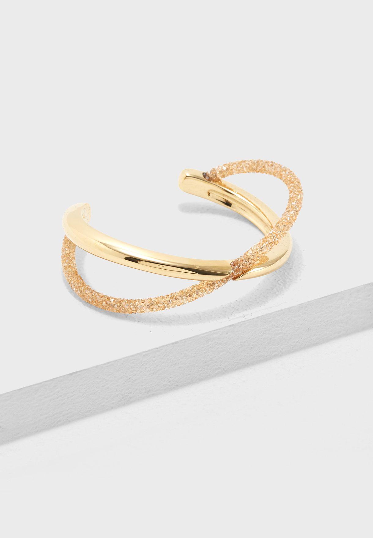 6a7f07194b5 Shop Swarovski gold Crystaldust Cross Cuff Bracelet 5368494 for ...
