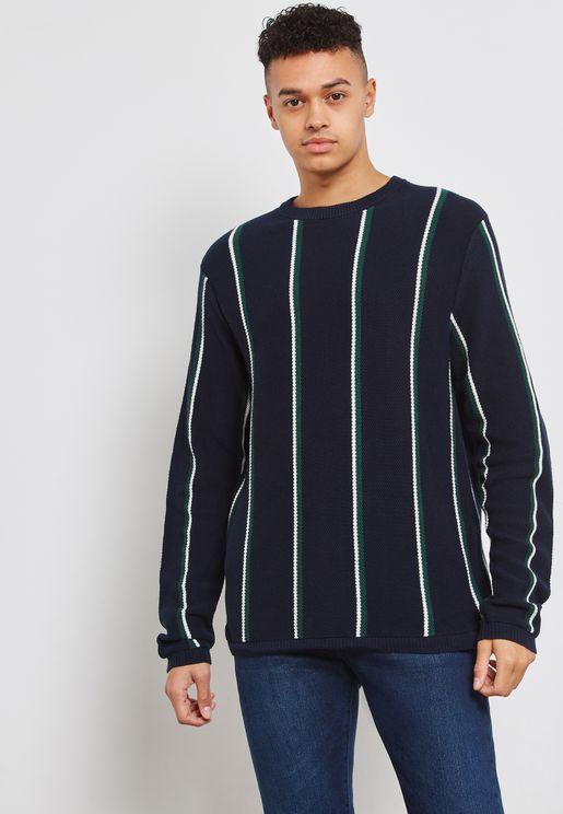 Striped Split  Hem  Knitted Sweater