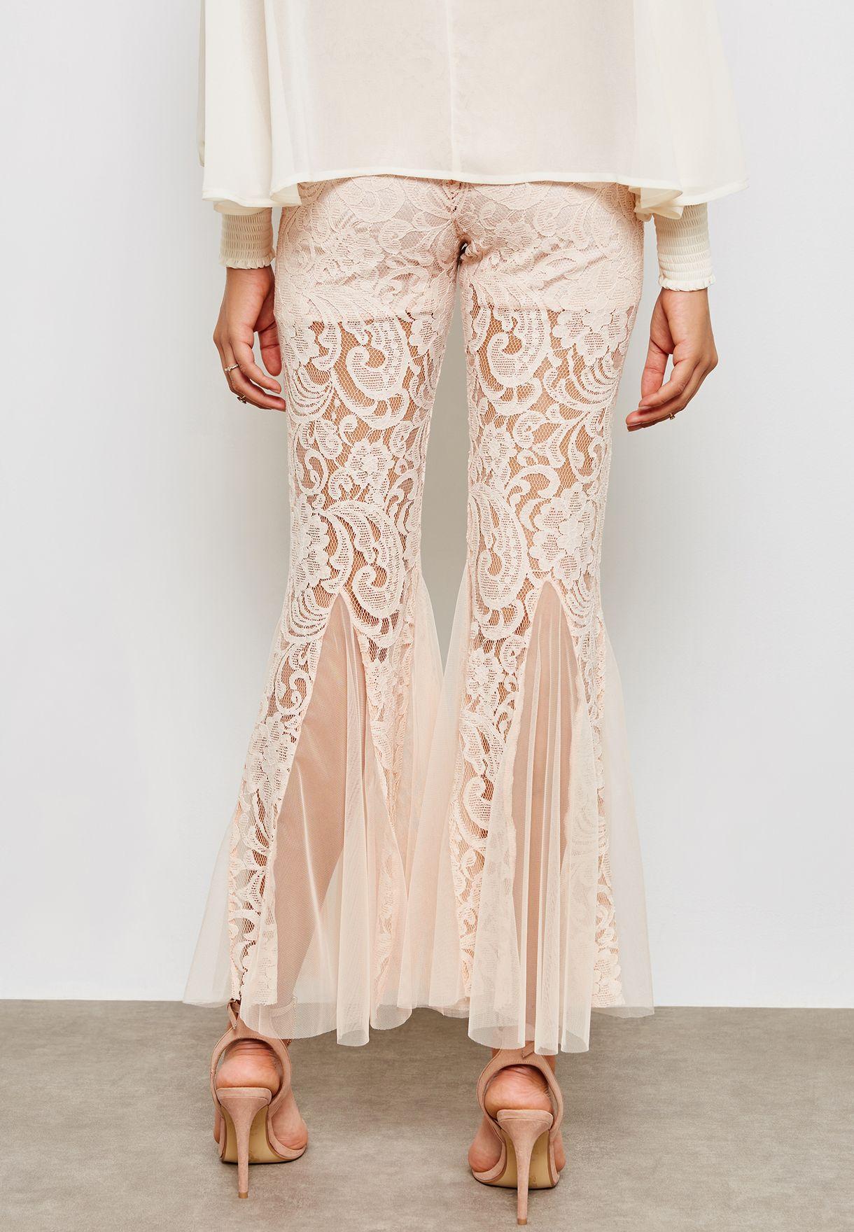 Flared Hem Lace Pants