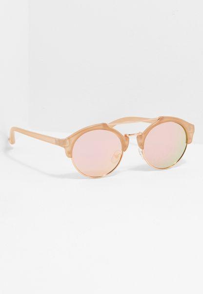 Metal Brow Bar Mirrored Sunglasses