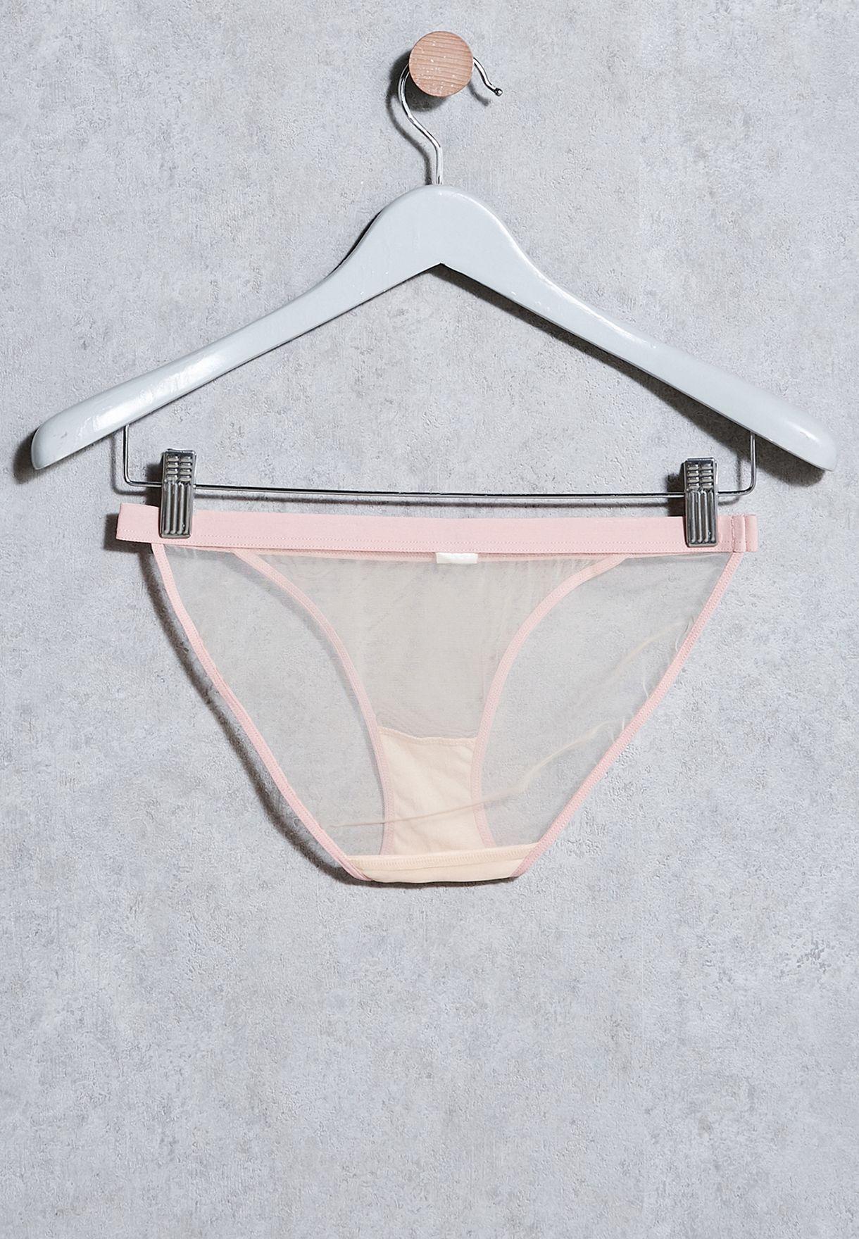 Topshop Pink size 16 mesh bikini briefs knickers panties hot pink