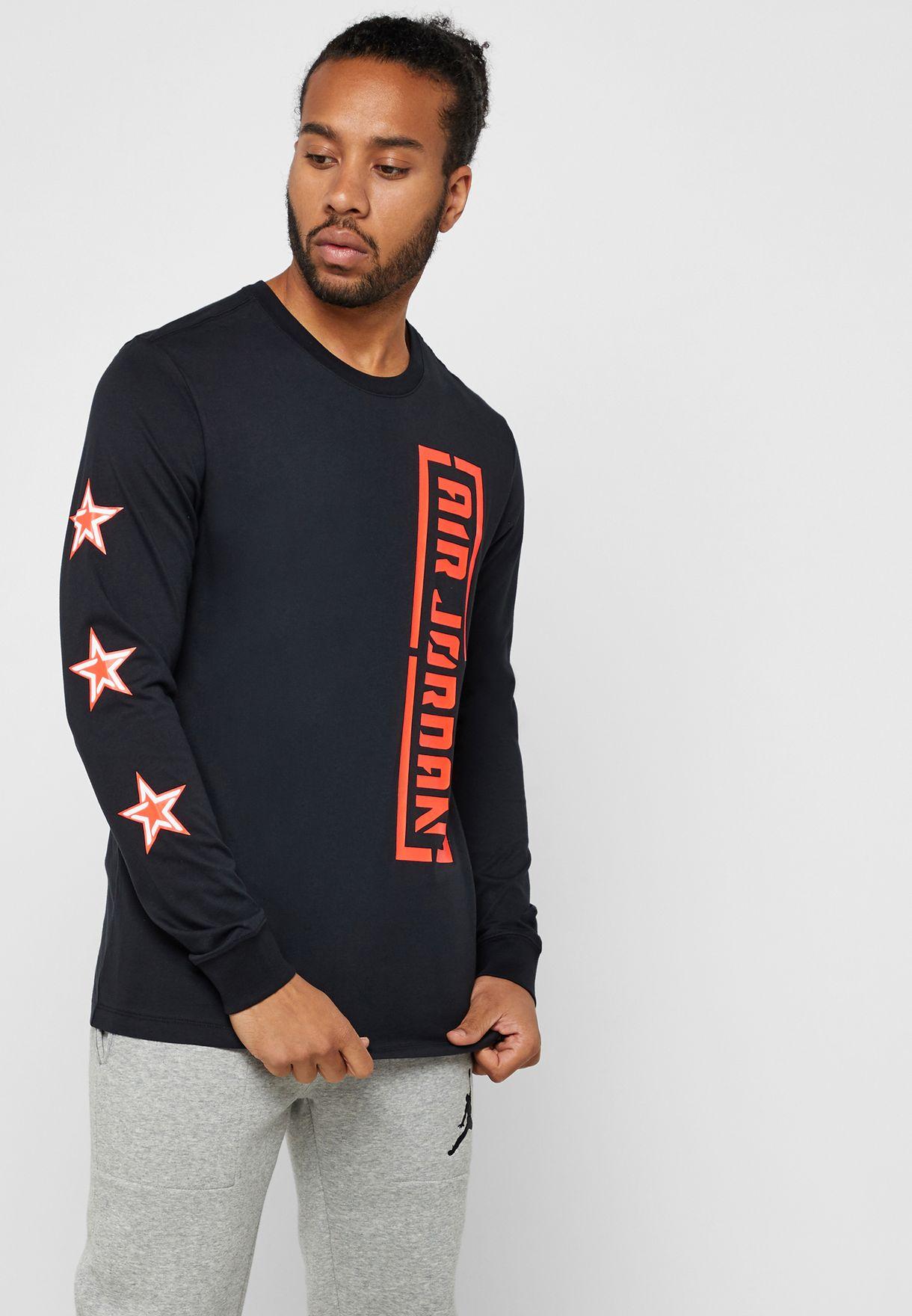 1dfad4080cf0b7 Shop Nike black Jordan City Of Flight T-Shirt AT9070-010 for Men in ...