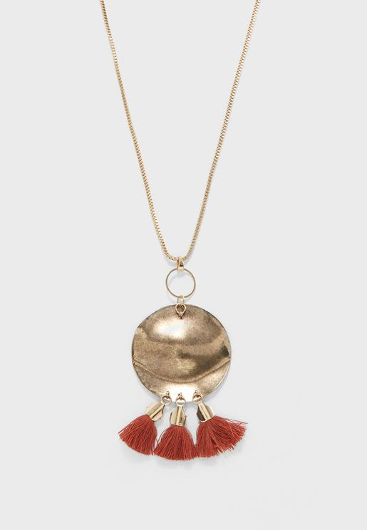 Beaten Disc Necklace With Pendant