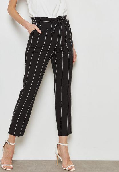 Belted Striped Paper Bag Pants