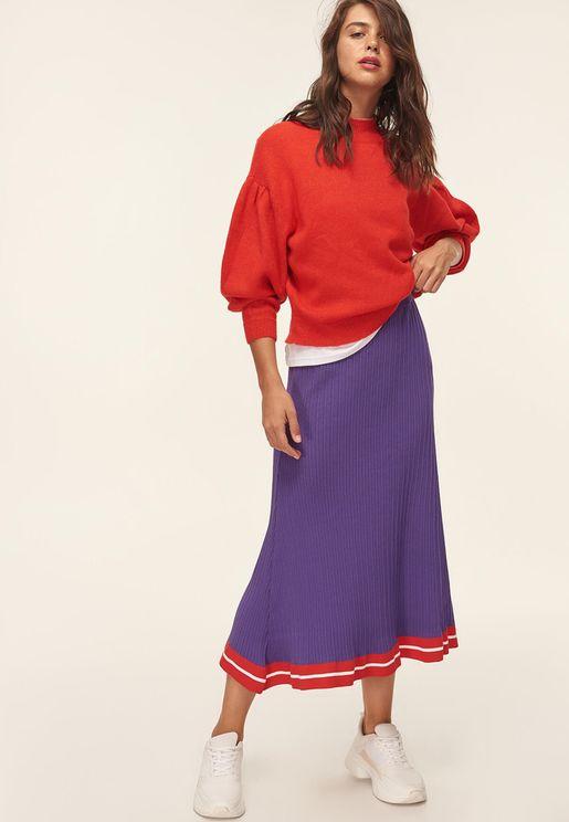 Contrasting Hem Ribbed Skirt