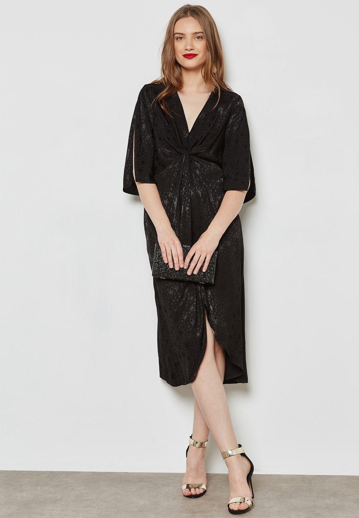 117e1e7d67 Shop Miss Selfridge black Star Jacquard Wrap Dress 18D50VBLK for ...