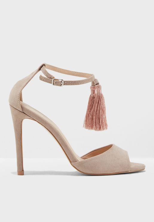 History Tassel Ankle Strap Sandal