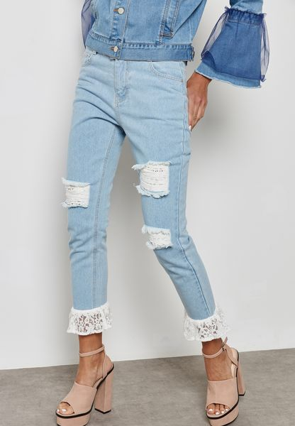 Lace Hem Ripped Straight Jeans